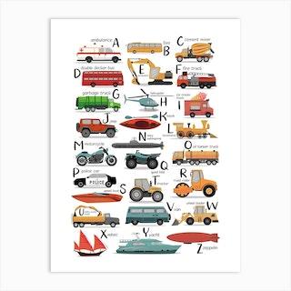 Colourful Transportation Alphabet Art Print