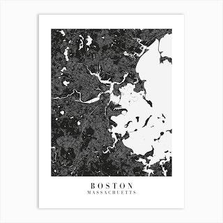 Boston Massachusetts Minimal Black Mono Street Map  Art Print