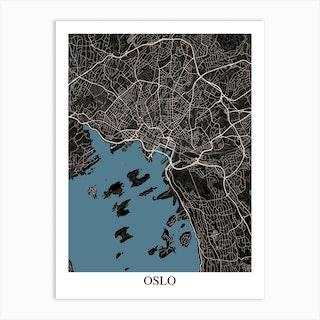 Oslo Black Blue Art Print