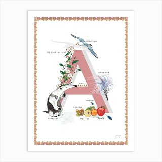 A Is For In Pink Art Print