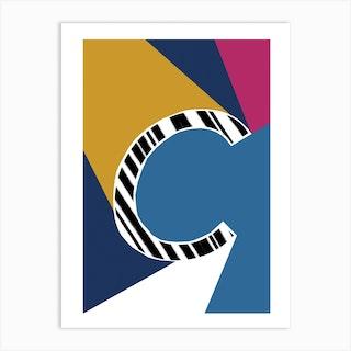 C Geometric Font Art Print
