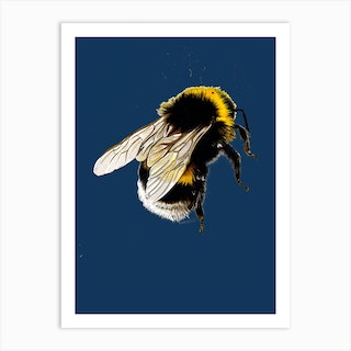 The Bee Blue Art Print