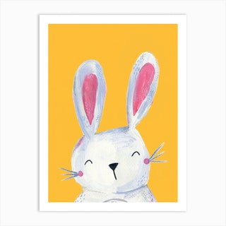 Woodland Bunny On Yellow Art Print
