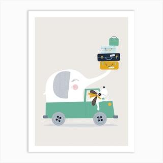 Elephant And Dog Go Wild Art Print