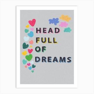 Head Full Of Dreams In Grey Art Print