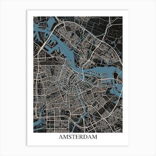 Amsterdam Black Blue Art Print