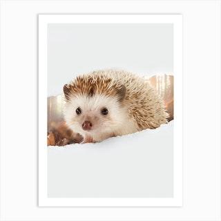 Hedgehog Torn Paper Art Print