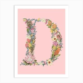 D Pink Alphabet Letter Art Print