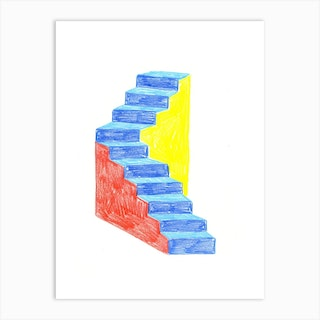 Stairs Drawing Art Print