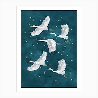 Flying Crane Birds In A Starry Sky Art Print