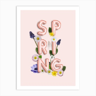 Spring   Copper Balloon Typography And Flowers Art Print
