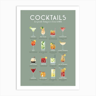 Guide Des Cocktails Art Print