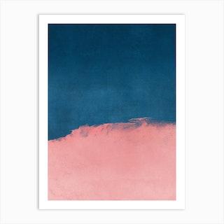 Minimal Landscape Pink And Navy Blue 01 Art Print