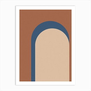 Abstract Navy And Brown Arches Art Print