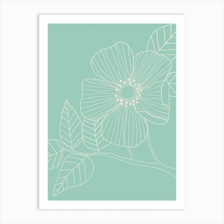 Duck Egg Blue Floral Line Drawing Art Print