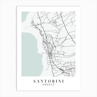Santorini Greece Street Map Minimal Color Art Print