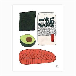Salmon Sushi Roll Art Print
