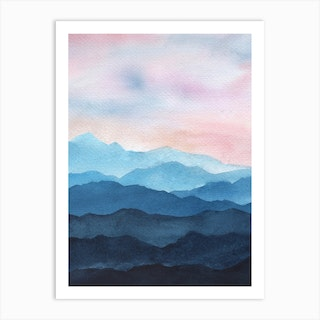 Abstract Blue Mountains Art Print