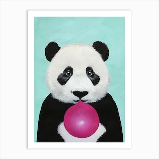 Panda With Bubblegum Art Print