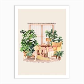 Yoga With Plants 3 Art Print