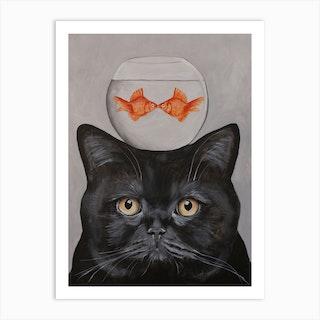 Cat With Fishbowl Art Print