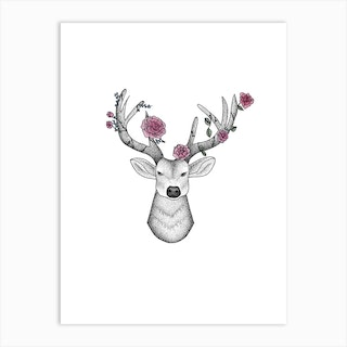 Dotwork Stag With Peonies Art Print