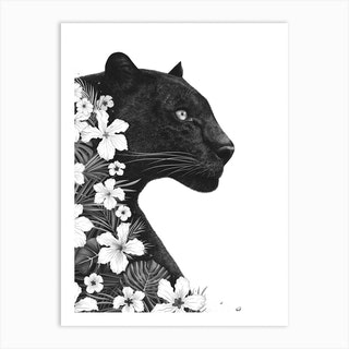 Panther With Flowers Art Print