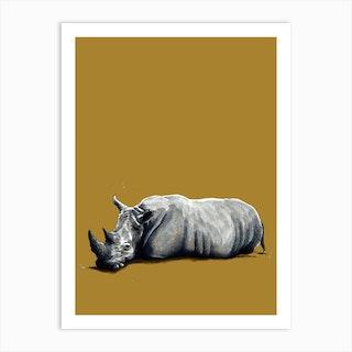 The Rhino On Burnt Gold Art Print