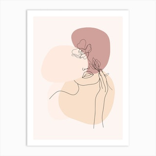 Minimal Line Art Beautiful Woman With Flower Art Print