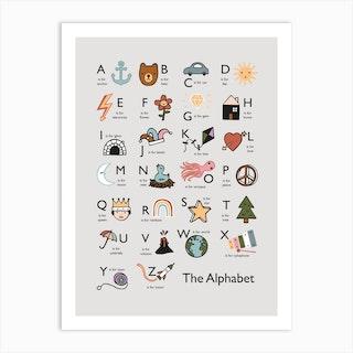 Alphabet In Grey Art Print