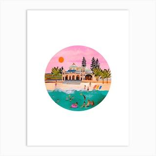 Sunset Swimmers Art Print