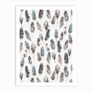 Watercolor Boho Feathers Teal And Grey Art Print