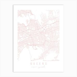 Queens New York Light Pink Minimal Street Map Art Print