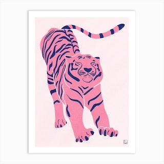 Tiger Doesnt Lose Sleep Pink Art Print