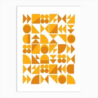 Mustard And Saffron Shapes Art Print