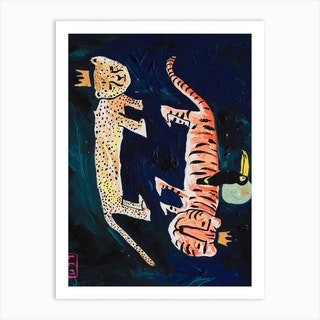 Cheetah Tiger Toucan In The Night Sky Art Print