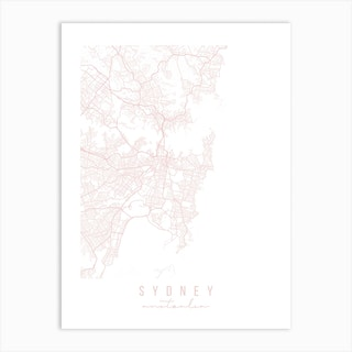 Sydney Australia Light Pink Minimal Street Map Art Print