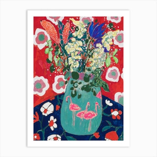 Maximalist Floral Still Life With Flamingo After Matisse Art Print