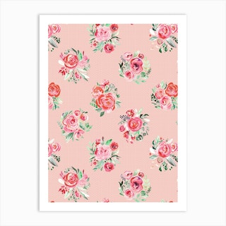 Sweet Roses Blooms Sweet Pink Art Print