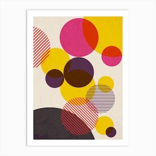 Dots In Yellow Raspberry And Dark Purple Art Print