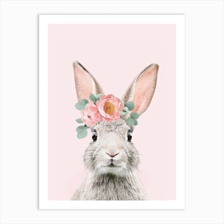 Flower Crown Bunny Pink Art Print