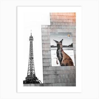 Paris Kangaroo Street Sign Art Print