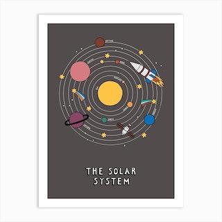 The Solar System In Black Art Print