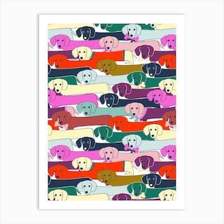 Long Dog Pattern Art Print