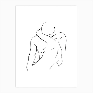 Lovers Body Sketch 2 Black And White Art Print