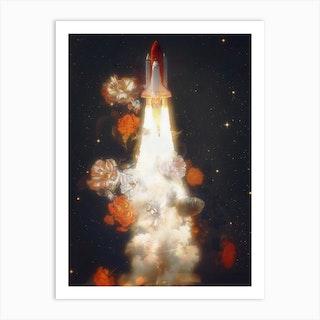 Space Shuttle & Flowers Art Print