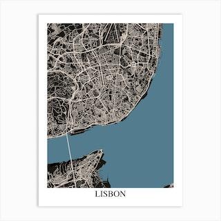 Lisbon Black Blue Art Print