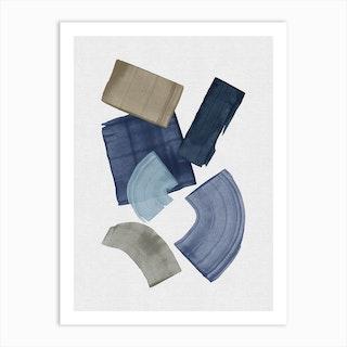 Blue And Brown Paint Blocks Art Print
