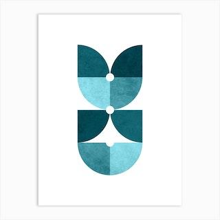 Quarter Circle Pattern In Blue 1 Art Print