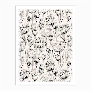 Vintage Poppy Pattern Art Print